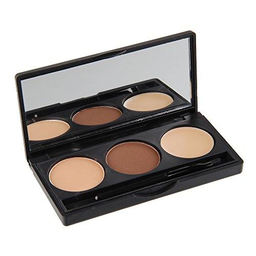 Beauty7 Palette Coffret Poudre sourcil 2 couleur + gel modelage et brosse mirroir maquillage