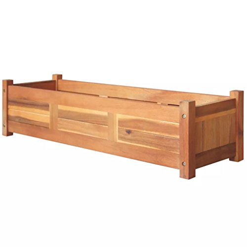 Voupuoda Jardinera Arriate de Madera de Acacia Caja de siembra de Madera para jardín terraza y balcón Caja de balcón 100 x 30 x 25 cm
