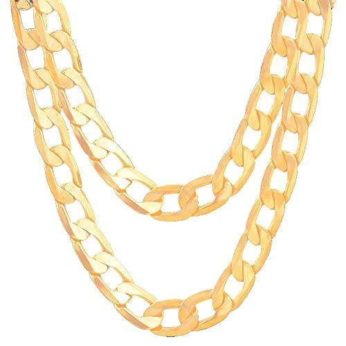 Gouden ketting 18k vergulde halsketting 8mm extra breed pantserketting van fijn roestvrij staal 50cm lengte voor heren, dames modesieraad