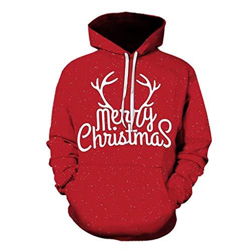 Dasongff Unisex kerstpullover grote maten Merry Christmas hoodie hoodie 3D capuchon pullover grappige pullover kerstpullover sweatshirts Kerstmis hoodie outwear S-6XL XXXL rood