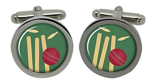 Family Crests Cricket Bails Stumps Männer-Manschettenknöpfe mit Chrom-Geschenkbox