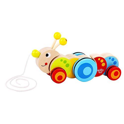 Tooky Toy Chenille en bois à tirer - Jouet pour enfant - Jouet en bois - Jouet fille - Jouet garcon - à partir de 3 ans - 25 x 7,5 x 12,5 cm