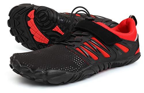[WHITIN] メンズ トレイルランニングシューズ ベアフットシューズ トレーニングシューズ フィットネスシシューズ スニーカー シューズ 裸足 靴 ジム ウォーキング柔軟で軽量な通気性ブラックレッド 27.5cm