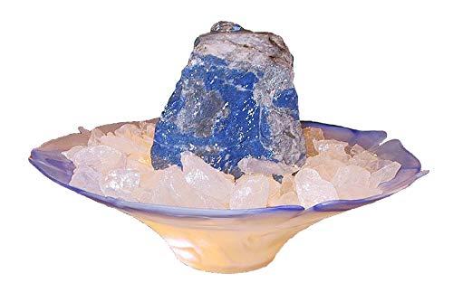 Troester's Brunnenwelt Zimmerbrunnen Lapis Lazuli mit Pumpe und Bergkristall-Chips, Quellstein aus echtem Lapis Lazuli
