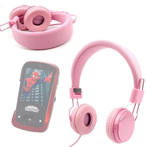 DURAGADGET Casque Rose pour Enfant – réglable et Repliable avec Microphone intégré – pour Lecteur baladeur MP3 Spiderman