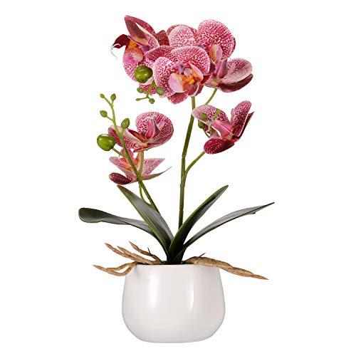 Asvert Kunstpflanze Orchidee Künstliche Blumen Deko mit Übertopf Gartendeko (Style 2, Helllila)