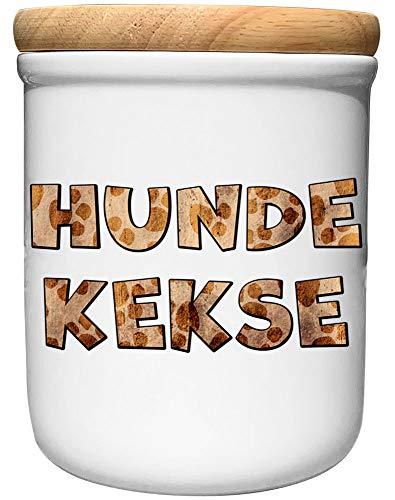 Cadouri Keramik Leckerli-Dose » Hundekekse «┊Snackdose Keksdose Aufbewahrungsdose┊mit Holzdeckel