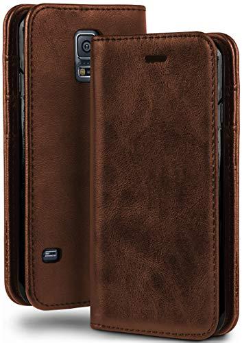 moex Booklet in Lederoptik - Kartenfächer und Aufstellfunktion kompatibel mit Samsung Galaxy S5 / S5 Neo | Eleganter 360 Grad Vollschutz, Sattel-Braun