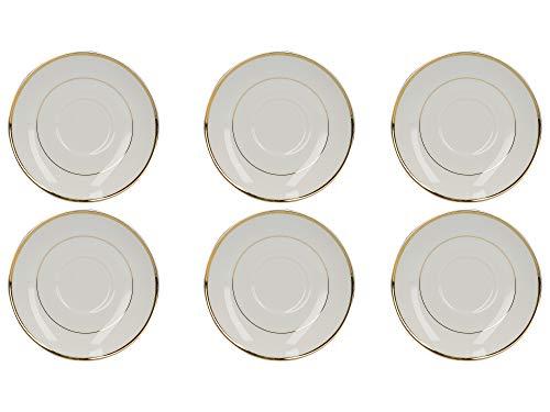 Mikasa Cameo Gold - Juego de 6 tazas de té (porcelana, 250 ml), color blanco, porcelana, Blanco, 15 cm (Set of 6 Christmas Saucers)