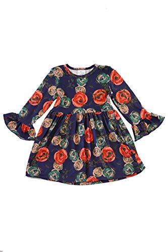 Honeydew cutie Boutique Navy Floral Ruffle Dress (L(5))
