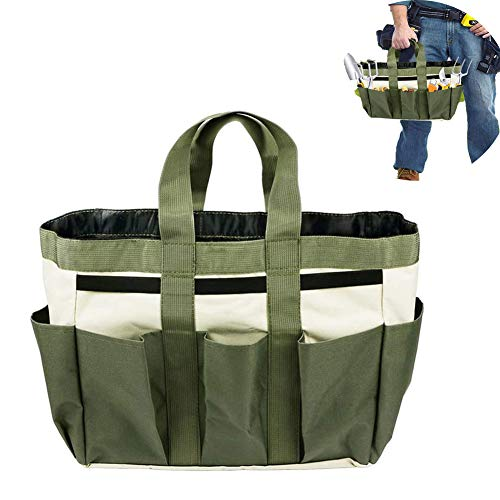 Garden Tool Bag,Oxford Cloth Garden Tote Garden Tool Storage Box Home Lawn Yard Flower Shovel Bag with 8 Pockets and Handles Organizer Tool Bag