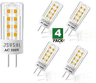 JSVSAL Paquete de 4 bombillas LED JCD GY6.35 no regulables, 4 W, 420 lúmenes, ángulo de haz de 360°, equivalente a 35 W, halógeno/xenón/incandescente G6.35, luz blanca suave, 3000 K, CA 220 V