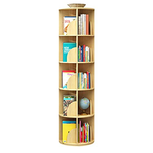 Bookcases Revolving, Creative 360°Rotating Simple Disassembly Bookshelves Simple Student Corner Bookshelf For Home Office Living Room Study Kid's Room (Color : Wood, Size : 39 * 159cm)