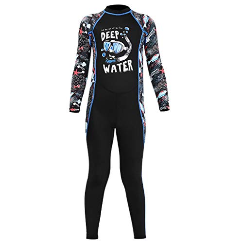 freneci Neoprenanzug Kinder Einteiliger, lang, Reißverschluss, Junge Neopren Nassanzug Tauchanzug Schwimmanzug Surfanzug - Blau XXL