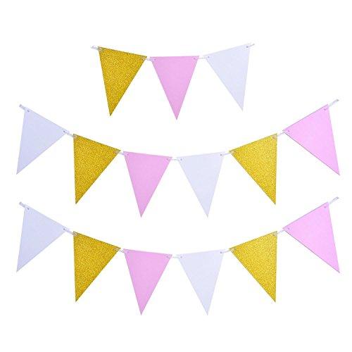 Happium - Banderas de papel de fiesta Banderas de banderines de triángulo Banderas
