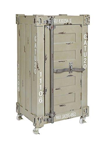ts-ideen Design Kommode Schrank Roll Container Shabby beige grau Industrie Design 75 x 39 cm mit Rollen