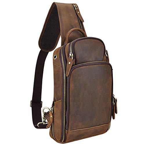 OakHide Mens Genuine Leather Sling Chest Bag Casual Shoulder Daypacks For 10.5 Inches iPad