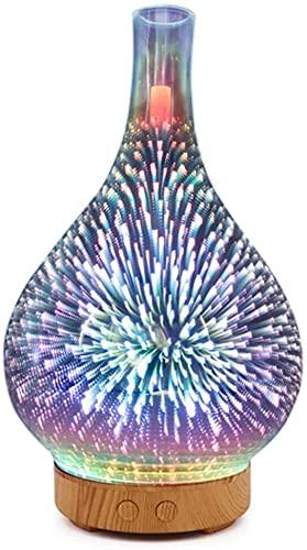 Humidificador 3D Firework Glass Vidrio Forma Forma Humidificador Aéreo Con 7 Color LED Luz de Luz Aroma Esencial Aceite Difusor Mist Mist Maker Ultrasonic Humidificador Luz de madera Grano Reino Unido
