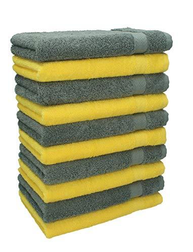 Betz Lot de 10 Serviettes débarbouillettes lavettes Taille 30x30 cm en 100% Coton Premium Couleur Jaune et Gris Anthracite