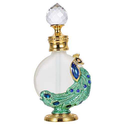 Angoily 1 Botella de Perfume Vacía de La Vendimia con Forma de Pavo Real Decoración Botella de Perfume de Cristal con Gotero para Aceite Esencial (Verde)