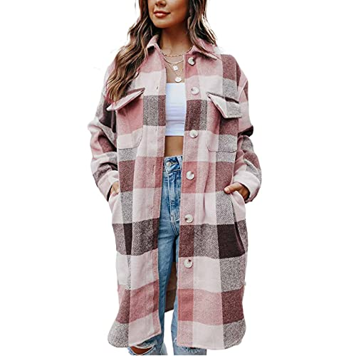 Yishengp Cárdigan largo a cuadros para mujer de manga larga con botones de solapa a cuadros Trench Coat ShirtFall Winter Shacket Chaquetas Camisas, rosa, S