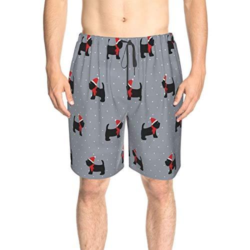 Wearibear Gorro de Navidad con diseño de perros lindos y pantalones cortos de playa transpirables con bolsillos para el surf de verano