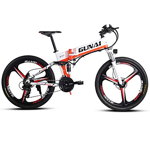 GUNAI 350W Electric Mountain Bicycle with Rear Seat with 48V Removable Lithium Battery 3 Working Modes LCD Display E-bike for Adult