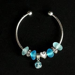 handmade blue sea beach glass beads bracelet bangle