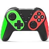 Seeksung para Nintendo Switch/Lite Pro Mando, Joystick Inalámbrico Compatible con Multiplataforma, Giroscopio de 6-Ejes Incorporado y Gamepad de Doble Choque para Nintendo Switch/Lite,Green & Red