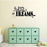 Etiqueta De La Pared 56X25.3Cm Sweet Deams Motto Bold Childrens Bedroom Etiqueta De La Pared Extraíble Decoración