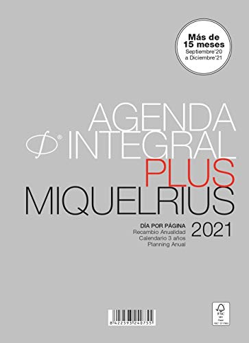Miquel Rius Recambio para agenda 2021-6 Anillas, Tamaño ACTIVA 117 x 182 mm, Día Página, Idioma Castellano