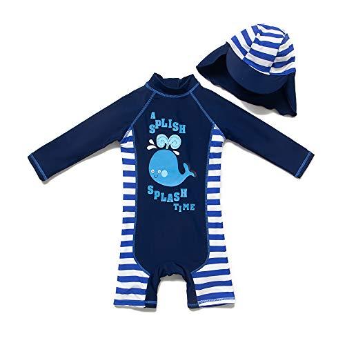 BONVERANO Baby Junge EIN stück Langärmelige-Kleidung UV-Schutz 50+ Badeanzug MIT Einem Reißverschluss(Blau-CXPSFisch,12-18M)