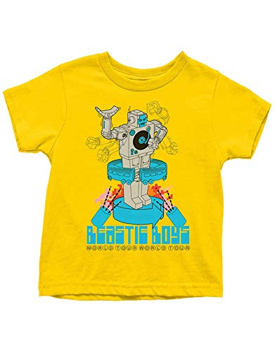 Kids/Teens Official Beastie Boys Robot World Tour Yellow Tee, Sizes for 9 to 14 Years