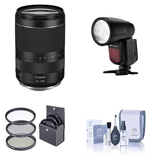 Canon RF 24-240 mm f/4-6.3 é uma lente USM – com flash flash redondo Li-on X R2 TTL na câmera, kit de limpeza, kit de filtro de 72 mm