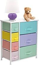 Sorbus Dresser with 7 Drawers - Furniture Storage Chest for Kid's, Teens, Bedroom, Nursery, Playroom, Clothes, Toy Organization - Steel Frame, Wood Top,Fabric Bins (7-Drawer, Pastel/White)