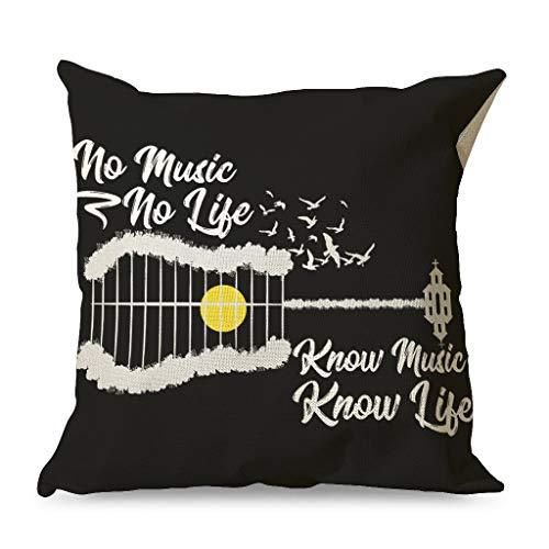 CCMugshop No Music No Life - Funda de cojín decorativa para salón (45 x 45 cm), diseño de guitarra, color blanco