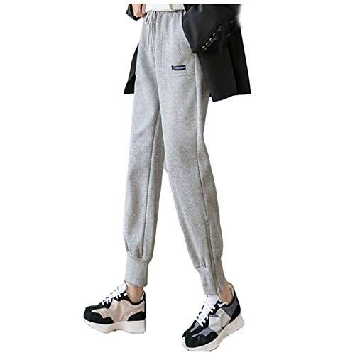 Janly Clearance Sale Pantalones, De Las Mujeres De Invierno De Jogging Suelto Fondos De Largo Sólido De Color Térmico Deportes Pantalones Para Invierno De Navidad (Gris-XL)
