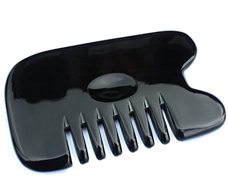 聖歌震える勇気のある櫛型 プロも使う牛角かっさプレート マサージ用 血行改善 高級 天然 静電気防止 美髪 美顔 ボディ リンパマッサージ