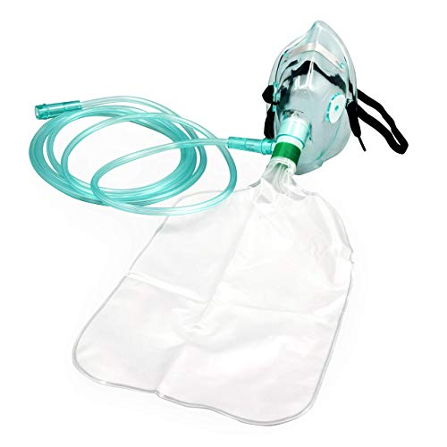 2 Pack Pediatric Elongated Standard Non-Rebreather Oxygen Mask with 7 Foot Safety Tube & Reservoir Bag - Size M