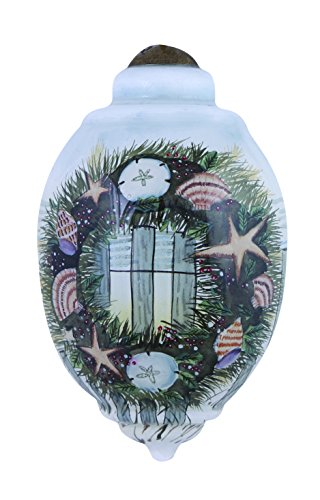 "Ne'Qwa Art,, Christmas On The Shore"" Artist Susan Winget, Petite Trillion-Shaped Glass Ornament, #7151181"