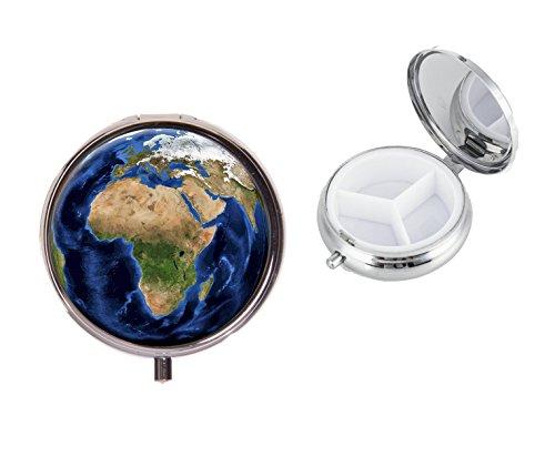 Planeta Tierra sobre un redondo de metal en viaje píldora caja ideal Regalo de cumpleaños x17