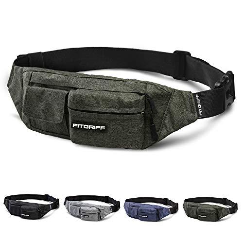 Fitgriff® Bauchtasche Slim Fit für Damen und Herren - Gürteltasche, Hüfttasche, Brusttasche, Fanny Pack - Gürtel Tasche (Army Green, Large)