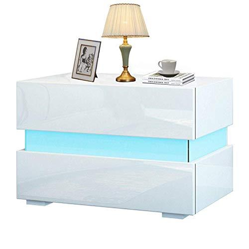 YOLEO Comodino LED (60 * 39 * 45 cm) / 2 Frontale Cassettiera in Truciolare - Illuminazione a LED - per Camera da Letto, Bianco Brillante