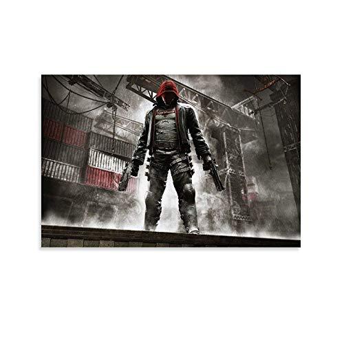 SHEFEI Póster decorativo de Batman Arkham Knight con capucha roja, lienzo decorativo para pared, para sala de estar, dormitorio, 40 x 60 cm