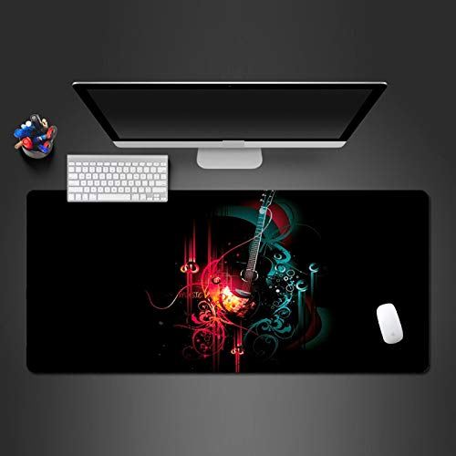 AUYTQ Anti-Fray Cloth Gaming Mouse Pad - Red Art Music Guitar 100X50Cm High-Performance Mouse Pad Optimized for Gaming Sensors - Designed for Maximum Control - Extended, Multi Color