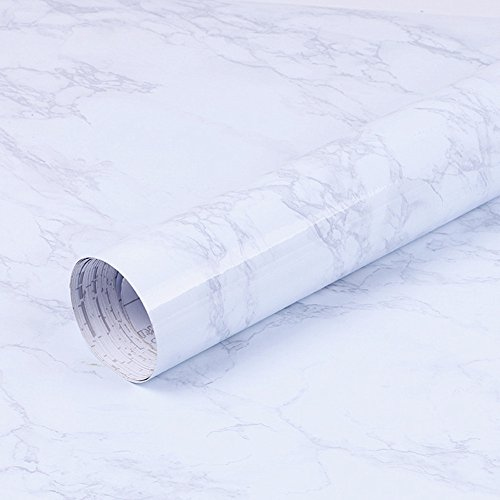 wdragon selbstklebend weiß gebrochenen Marmor, Vinyl glänzend Wrap Film Küche Kontakt Papier Abziehen Stick Tapete Aufkleber 60 x 200,7 cm weiß