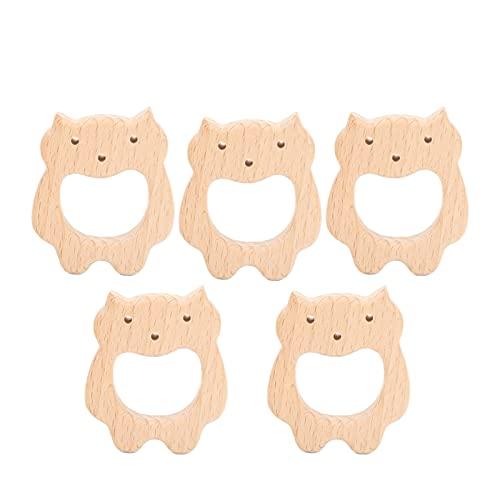 5 piezas de juguetes de madera para mordedores, juguetes de madera para aliviar el dolor de dentición para bebés, collar y brazaletes de bricolaje para la dentición(Soportar)