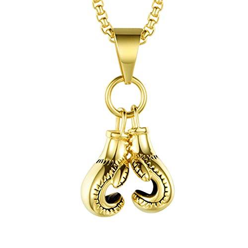 GuDeKe aleación Collar de Guantes de Boxeo Colgante Regalos Frescos de la joyería del Collar de la Vendimia Punky para los Hombres (Dorado)