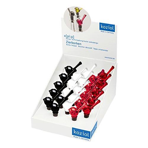 Koziol [pi:p], Flaschenverschluss, Flaschen Verschluss, Zierkorken, 10.7 cm, Transparent Rot / Schwarz / Weiß, 3741495
