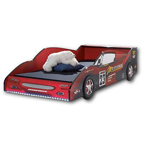 METEOR Rennauto-Bett mit LED-Beleuchtung 90 x 200 cm - Aufregendes Autobett für kleine Rennfahrer in Rot-Schwarz - 97 x 56 x 216 cm (B/H/T)
